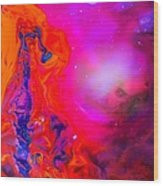 Giraffe In The Universe - Abstract Painting Wood Print