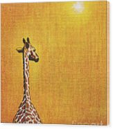Giraffe Looking Back Wood Print