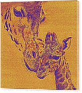 Giraffe Love Wood Print by Jane Schnetlage