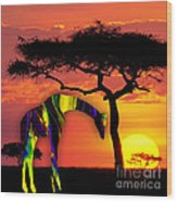 Giraffe Painting Wood Print