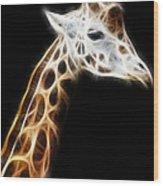Giraffe Portrait Fractal Wood Print