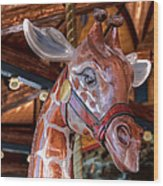 Giraffe Ride Wood Print