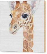 Giraffe Watercolor Wood Print
