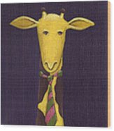 Giraffe Wearing Tie Wood Print by Christy Beckwith