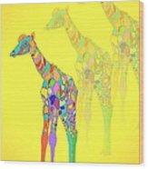 Giraffe X 3 - Yellow Wood Print