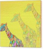 Giraffe X 3 - Yellow - The Card Wood Print