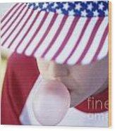 Girl American Baseball Cap Wood Print