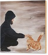 Girl And A Cat Wood Print