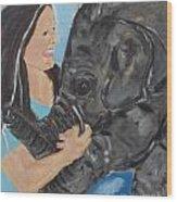 Girl And Baby Elephant Wood Print