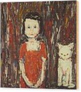 Girl And Cat Wood Print