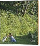 Girl And Dog On Trail Wood Print