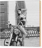 Girl And Harley-davidson Wood Print
