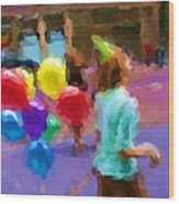 Girl And Her Balloons Wood Print