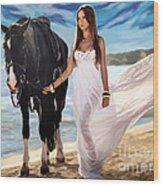 Girl And Horse On Beach Wood Print