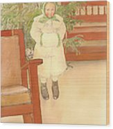 Girl And Rocking Chair Wood Print