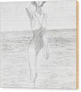 Girl And Sea Wood Print