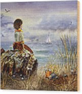 Girl And The Ocean Sitting On The Rock Wood Print