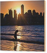 Girl And The Sunset Wood Print