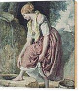 Girl At A Conduit Wood Print