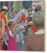 Girl At Carnival Social Occasion Celebrations Wood Print