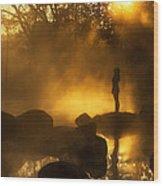 Girl At Hotspring Wood Print by Arthit Somsakul