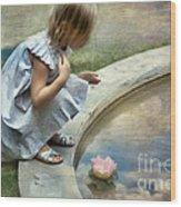 Girl At The Pond Wood Print