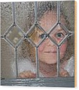 Girl At The Window Wood Print