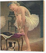 Girl Ballet Dancer Ties Her Slipper With Boston Terrier Dog Wood Print