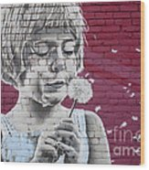 Girl Blowing A Dandelion Wood Print