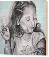 Girl Blowing Bubbles Wood Print