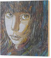 Girl By C215 Wood Print