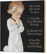 Girl Childs Bedtime Prayer Wood Print