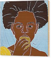 Girl Eating Mango Wood Print by Martha Rucker