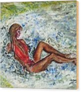 Girl In A Red Swimsuit Wood Print