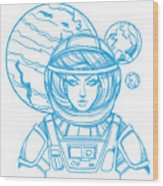 Girl In A Spacesuit For T-shirt Design Wood Print