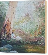 Girl In A White Dress Wood Print