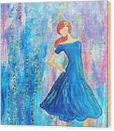 Girl In Blue Dress Wood Print
