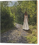 Girl In Country Lane Wood Print