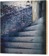 Girl In Nightgown On Circular Stone Steps Wood Print