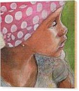 Girl In Pink Bandanna Wood Print