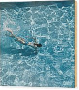 Girl In Pool Wood Print