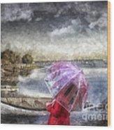 Girl In Red Coat Wood Print