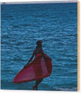 Girl In Red Float Wood Print