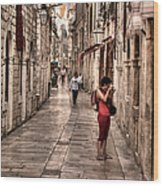 Girl In Red In The White Streets Of Dubrovnik Wood Print