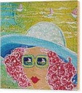 Girl In Sun Hat Wood Print