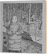 Girl In The Forest Wood Print