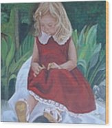 Girl In The Garden Wood Print