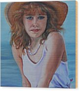 Girl In The Straw Hat Wood Print