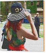 Girl In The Wind Wood Print