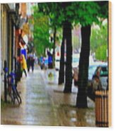 Girl In The Yellow Raincoat Rainy Stroll Through Streets Of The City Montreal Scenes Carole  Wood Print